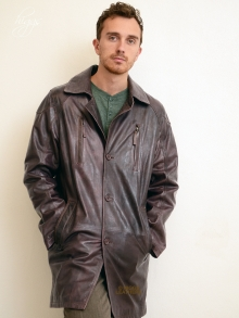 Higgs Leathers FEW ONLY SAVE £100!  Phil  (men's antique tan long leather jacket)