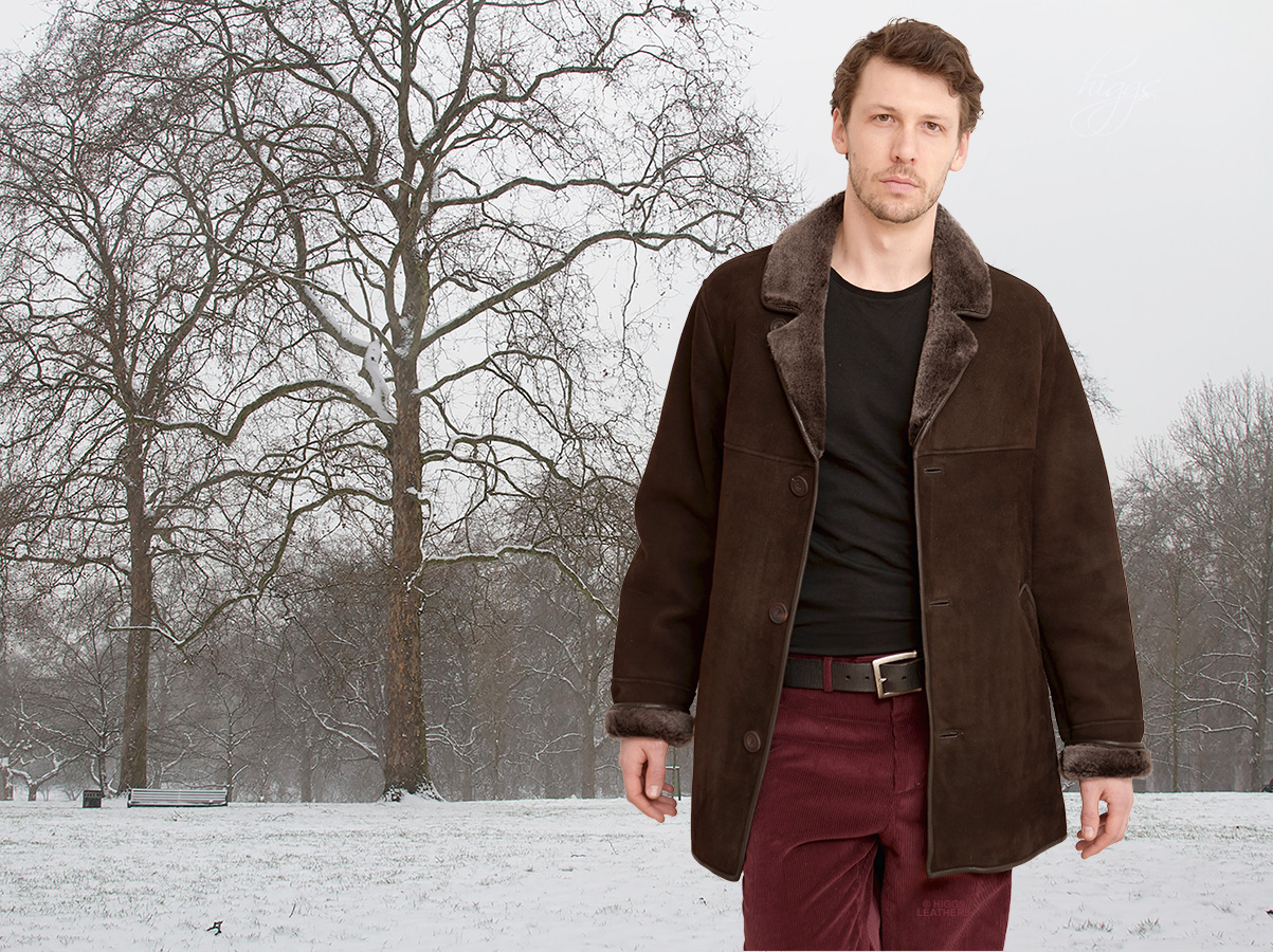 Higgs Leathers | Buy Devon (men&39s Chocolate Brown Shearling coats