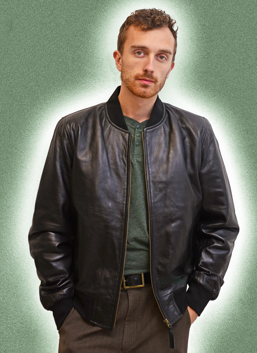 brandon mens black leather bomber jackets a