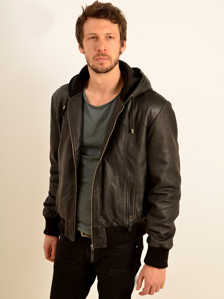 holt mens dark brown hooded leather jackets