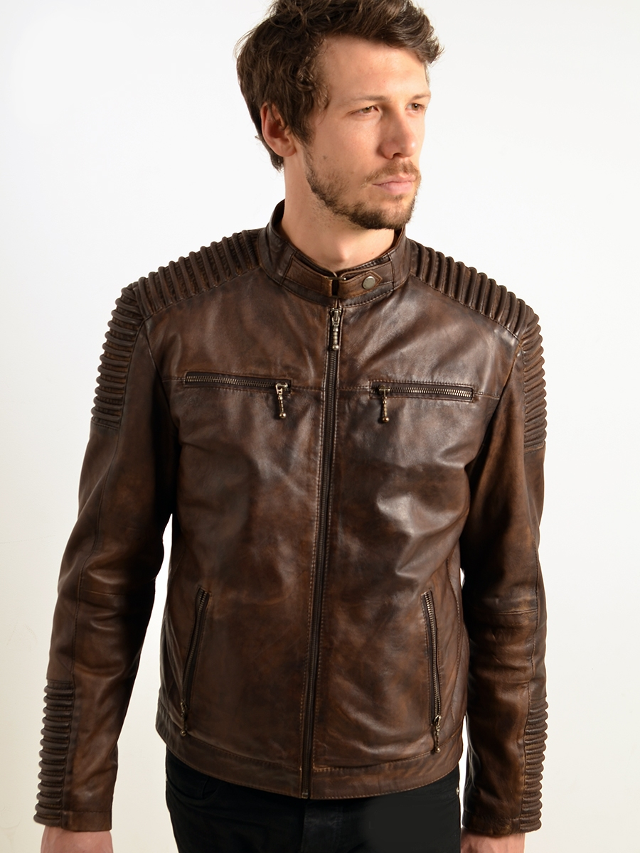 jordan mens padded seam brown leather biker jackets