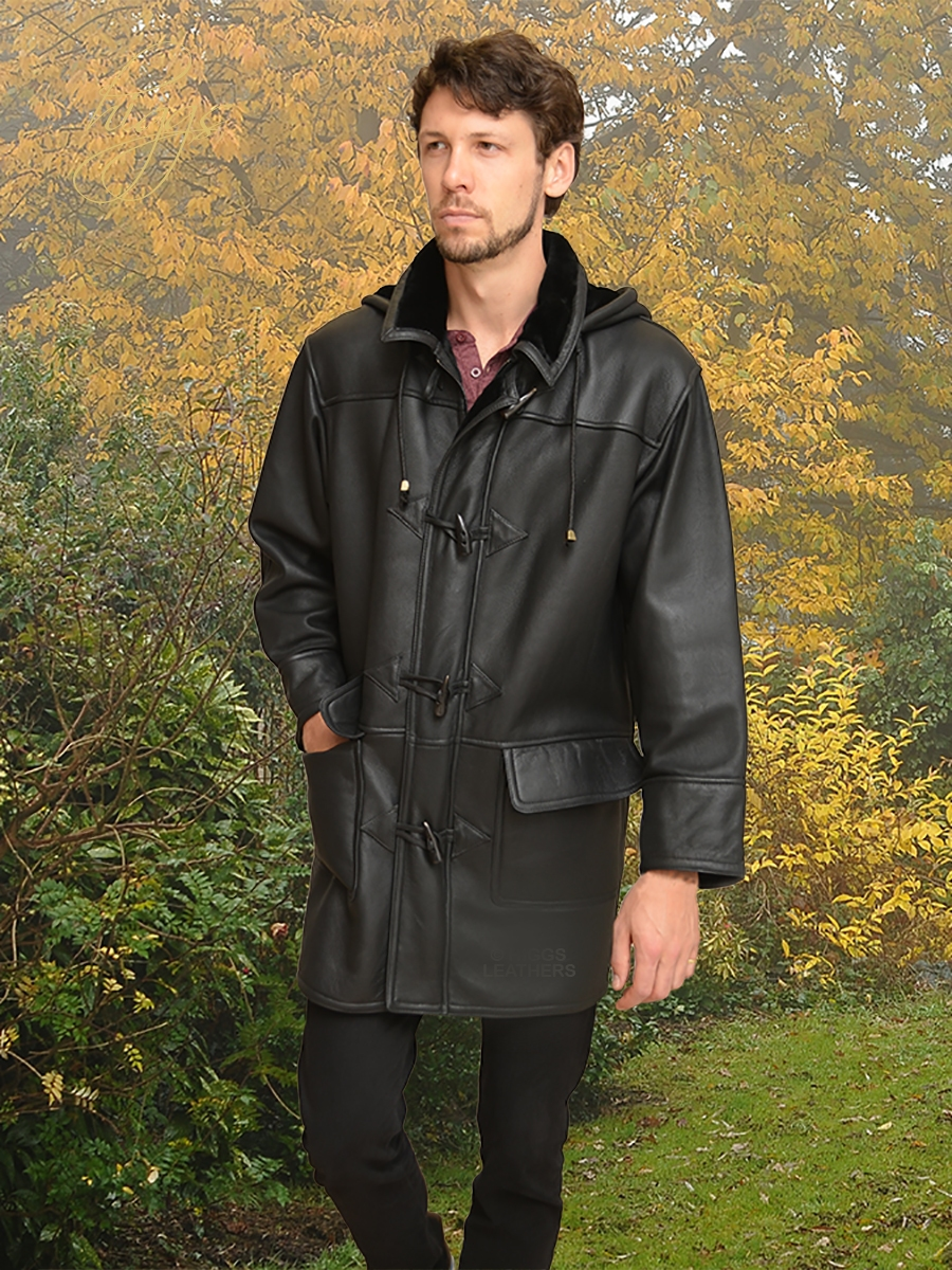 josh black shearlingduffle coats for men