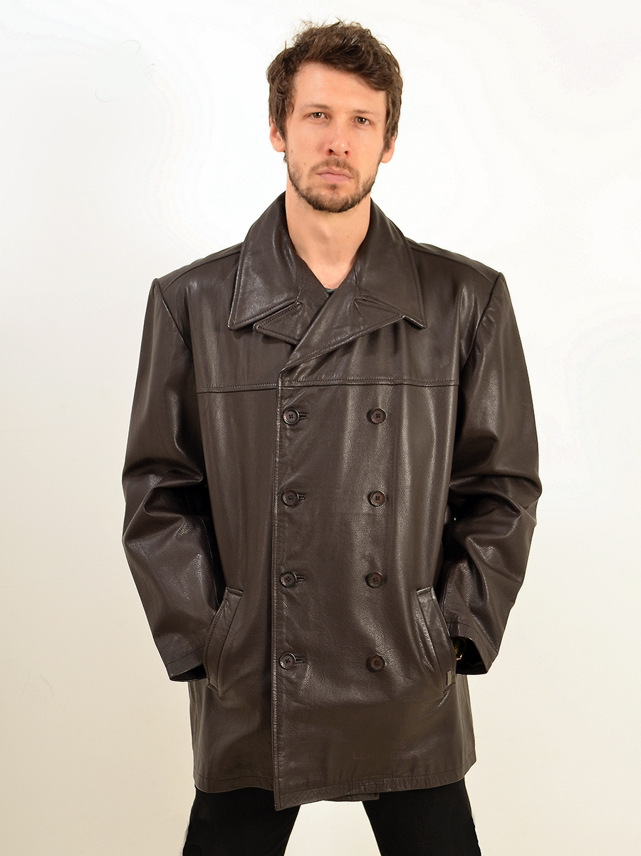 reeder mens brown leather db reefer jacket
