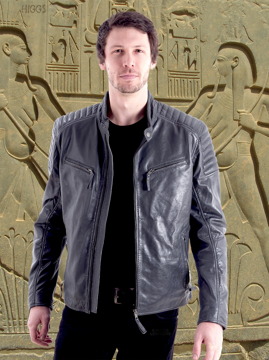 sergino mens grey leather biker jackets