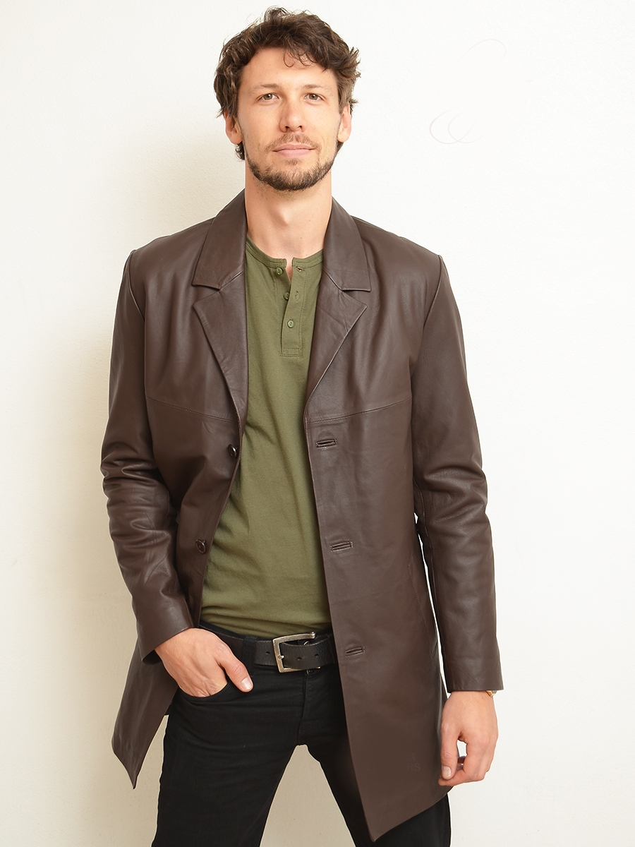 silas mid brown leather long jackets for men