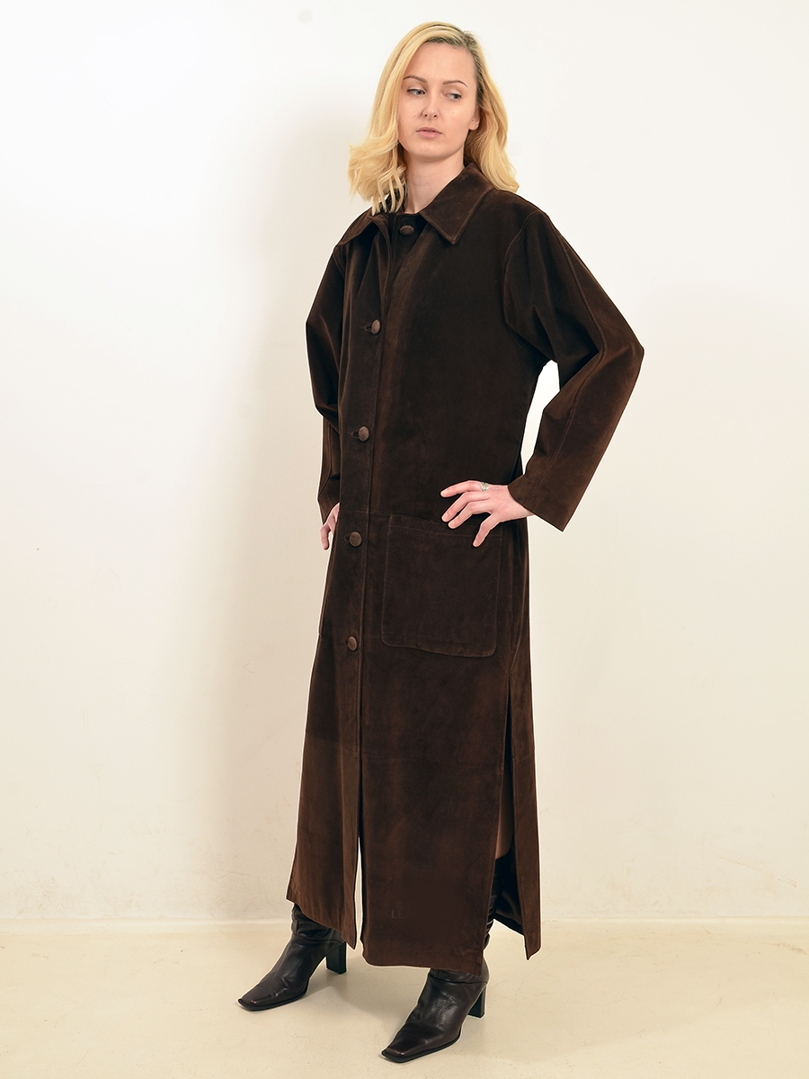 martina womens brown suede long coat