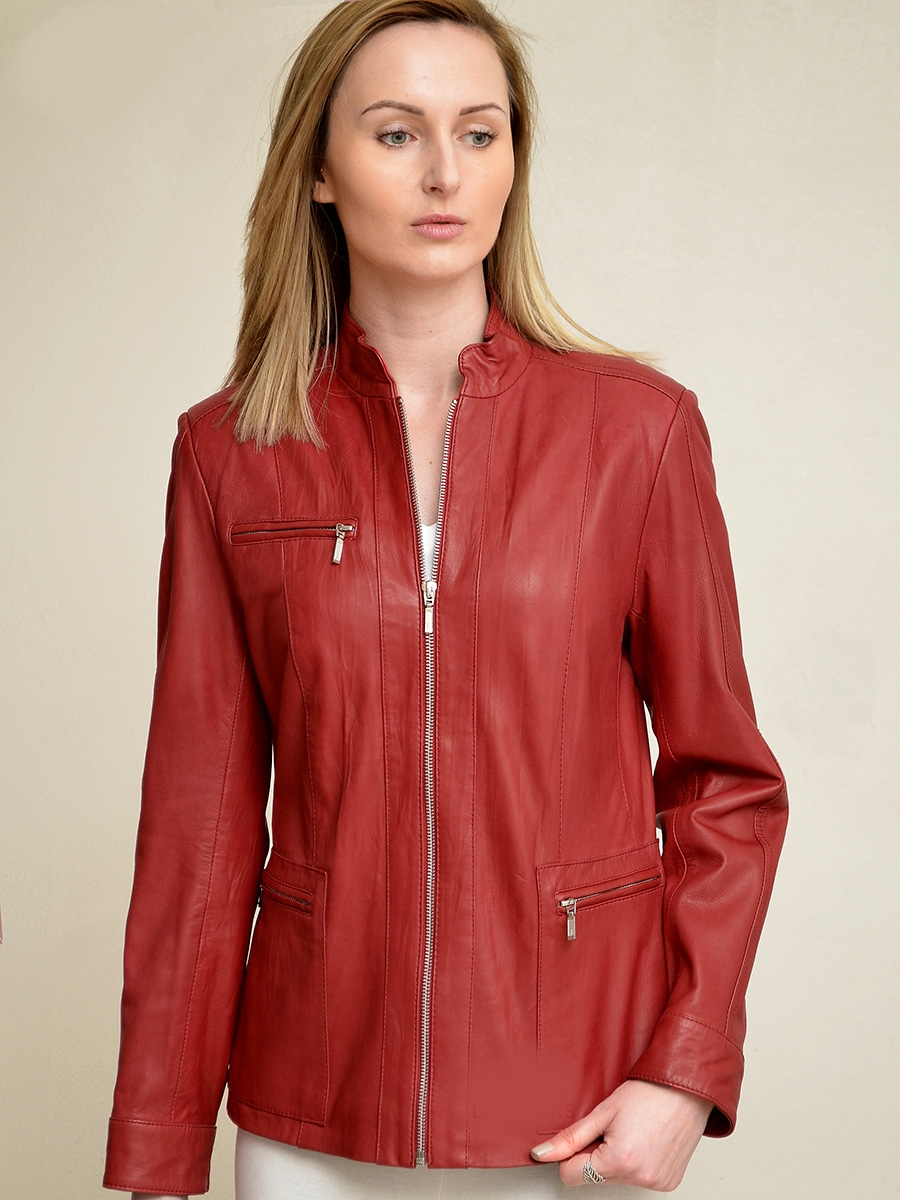 saba ladies red leather jacket