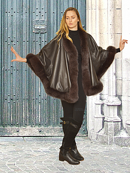Higgs Leathers {HALF PRICE SAVE £600!}  Marianno (Designer style Brown Leather Cape)