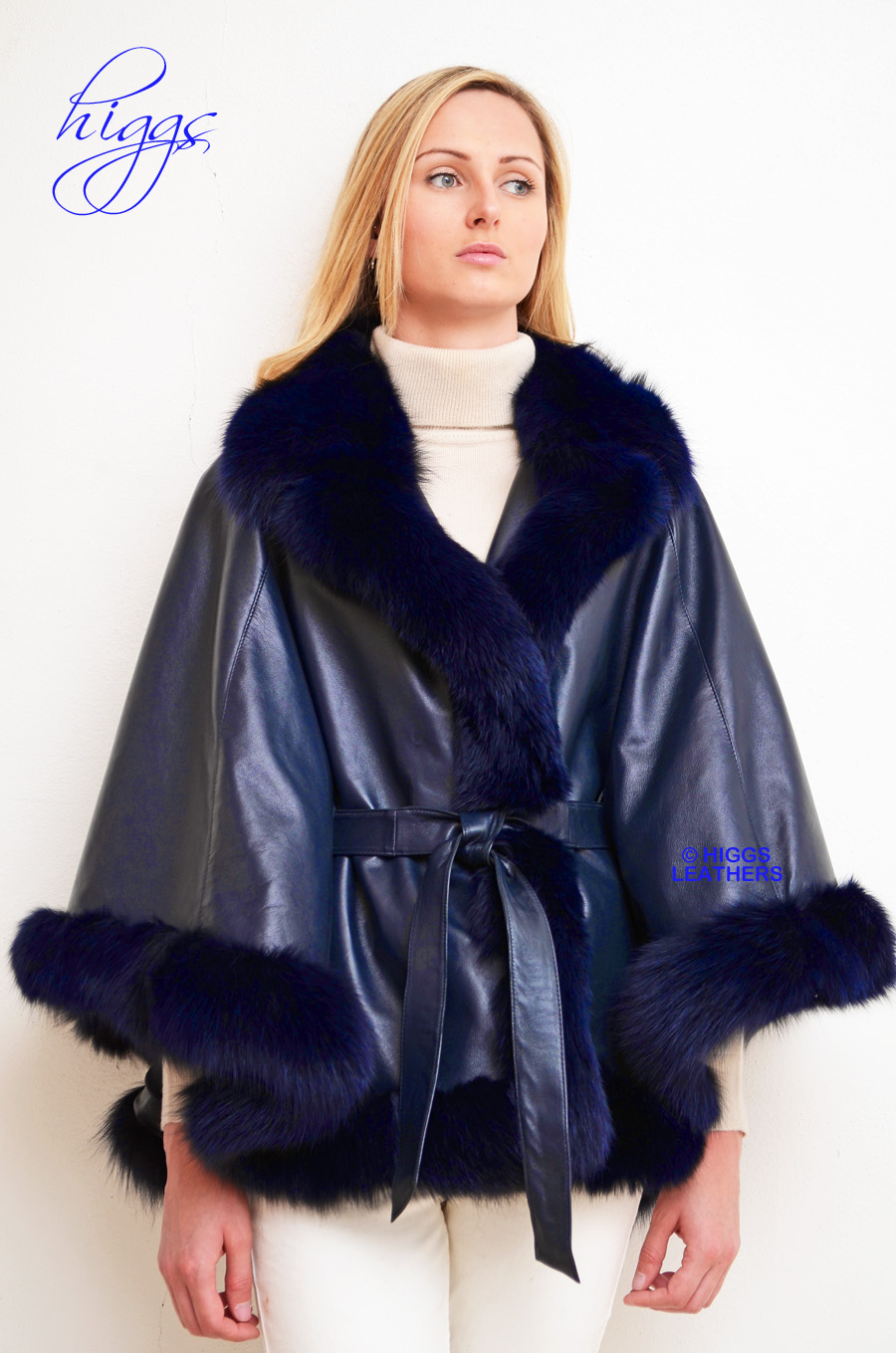 Higgs Leathers {34' to 50' bust}  Marianna (ladies Designer Navy Leather Cape Jacket) DEVISTATIONALLY GORGEOUS!!