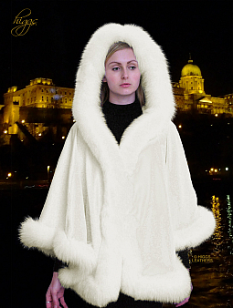 Higgs Leathers ALL SIZES!  Zaharita  (ladies Designer White Cashmere hooded Cape)