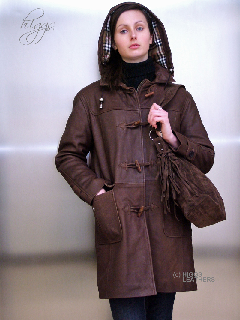 Higgs Leathers {34' to 46' bust}  Derby (ladies hooded leather duffle coat)