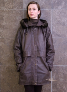 Higgs Leathers Lenore (women's Brown Leather Duffel coat)