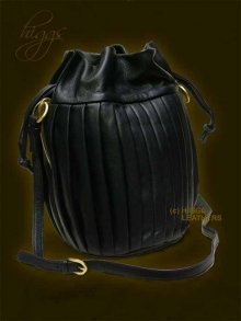 Higgs Leathers LAST ONE - SAVE £135!  Archez (Pleated Black Designer Leather Bag)