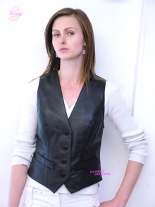 Higgs Leathers Ronette (ladies black leather waistcoat)