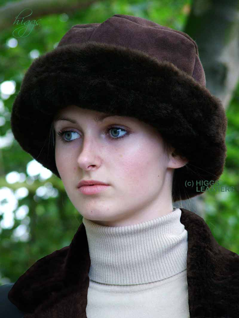 Higgs Leathers {LAST FEW!}   Diamonella (Doubled headband ladies Shearling hats)