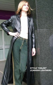 Higgs Leathers LAST FEW SAVE £50!  Chloe (ladies Black Leather long coat)