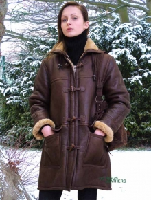 Higgs Leathers Rudette (women's brown Sheepskin Duffle coats)