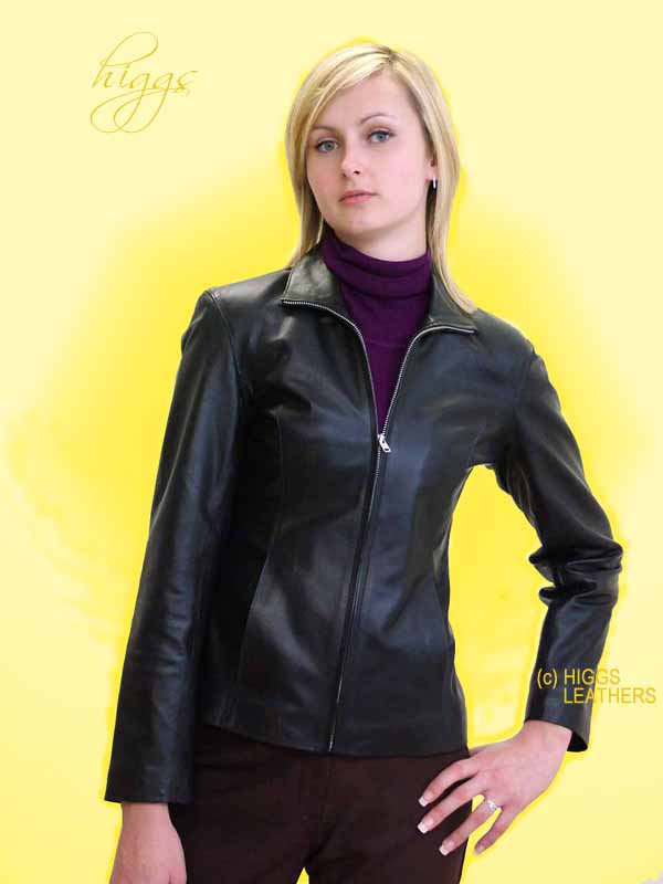 Higgs Leathers {LAST TWO SAVE £40!}  Blyss (womens black leather bikers jacket)
