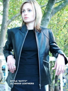 Higgs Leathers LAST FEW!  Kitty (ladies Black Leather Biker jackets)