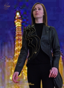 Higgs Leathers SOLD!  Patty (ladies wavy zip Black Leather jackets)