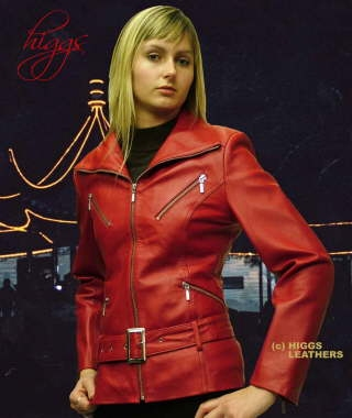 Higgs Leathers {SOLD!}  Zappy (ladies red leather bikers jackets)