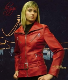 Higgs Leathers Zappy (ladies red leather bikers jackets)
