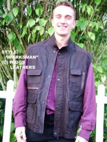 Higgs Leathers ALL SOLD! Marksman's Vest (men's Nubuck body warmer) LAST FEW!