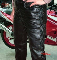 Higgs Leathers ALL SOLD Lacko (laced side mens black leather trousers)