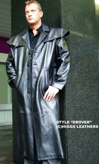 Higgs Leathers {38' to 46'chest}  Drover (mens black Leather Cape Coat)
