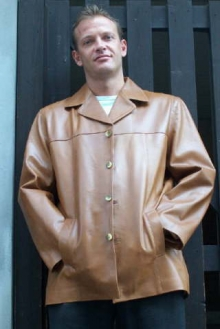 Higgs Leathers TWO ONLY SAVE £60!  Brian (easy cut Tan Leather jackets for men)