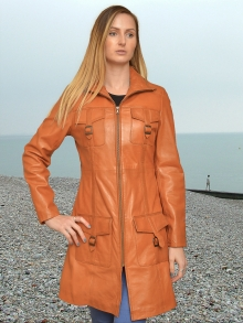 Higgs Leathers {32' bust HALF PRICE!}  Jacqui (ladies fitted Tan Leather coat) From our wonderful range of three-quarter length Leather coats for women!