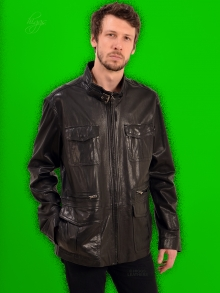 Higgs Leathers LAST ONE HALF PRICE!  Paudrick (men's Black Designer Leather jacket)