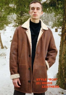 Higgs Leathers Rod (3/4 length mens shearling coat)