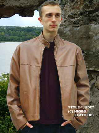 Higgs Leathers {36' to 50' chest}  Jude (men's tan leather zip jacket)