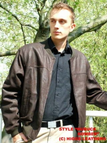 Higgs Leathers SOLD!  Liam (men's brown leather bomber jacket)