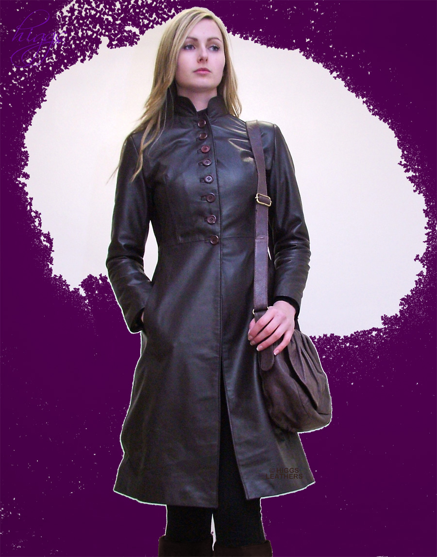 Higgs Leathers 32' and 36' bust HALF PRICE! Trinny (ladies fitted Brown Leather coat)
