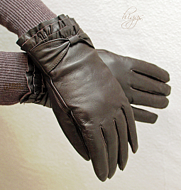 Higgs Leathers LAST FEW!  STYLE 74003 -  (ladies pleated wrist Brown Leather gloves)
