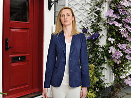 Higgs Leathers LAST 3 HALF PRICE!  Bonnie (ladies Blue Suede Blazer jacket)