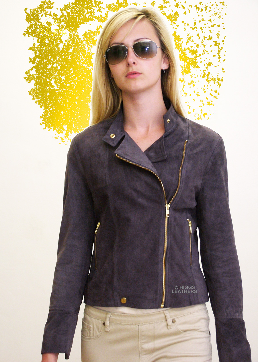 Higgs Leathers {LAST ONE HALF PRICE!}  Polly (ladies Kidskin Suede Biker jacket) OUTSTANDING QUALITY!