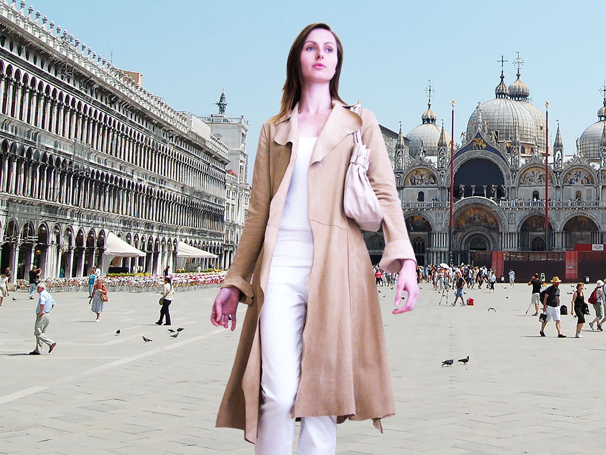 Higgs Leathers {34' BUST SAVE £230!}  Schula (ladies Beige Kidskin Suede coat) Summertime Suede in Venice!