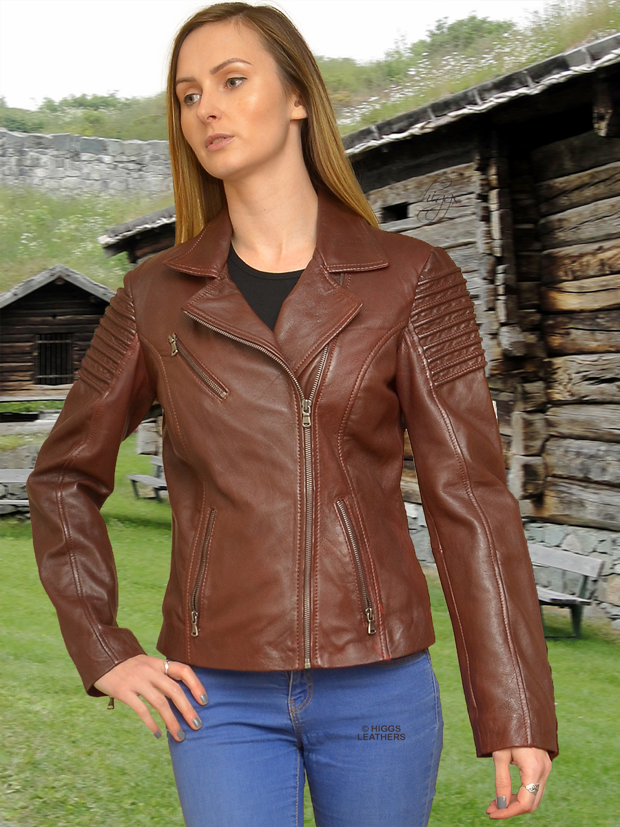 Higgs Leathers {HALF PRICE SAVE £90!}  Ayana (women's Bikers leather jacket) LAST ONE - HALF PRICE!