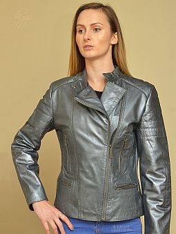 Higgs Leathers HALF PRICE SAVE £9O!  Beamie (ladies silver leather biker jacket)