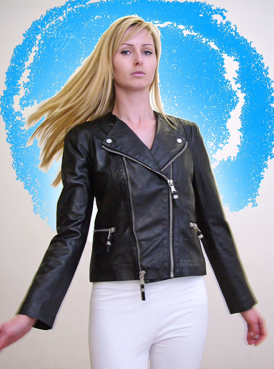Higgs Leathers LAST ONE SAVE £30! Becky (ladies Designer Black Leather Biker jackets) OUTSTANDING QUALITY - OUTSTANDING VALUE!