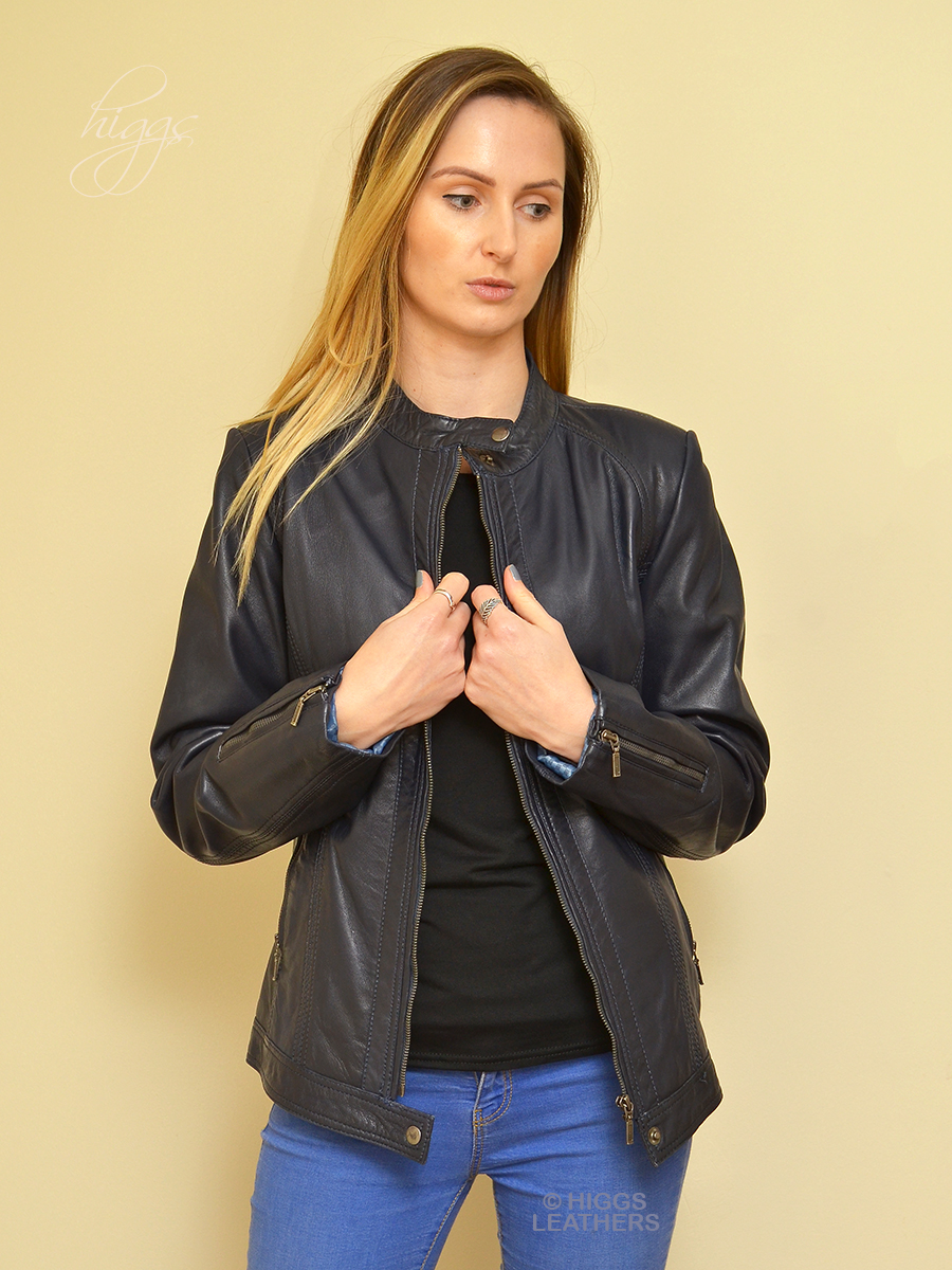 Higgs Leathers {ONE ONLY -  UNDER HALF PRICE!}  Belica (Navy Leather Biker jacket)