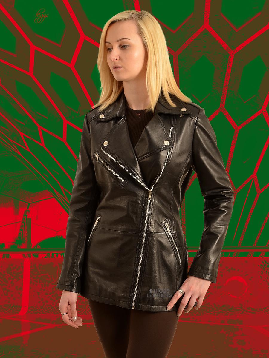 66766ad2 Higgs Leathers {ONE ONLY HALF PRICE!} Bindi (ladies long Black Leather Biker