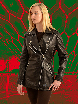 Higgs Leathers ONE ONLY SAVE £80!   Bindi (ladies long Black Leather Biker jackets)
