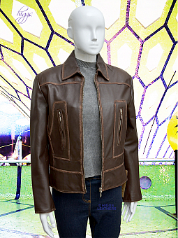 Higgs Leathers {32' to 34' bust UNDER HALF PRICE!}  Chaya (Brown Leather Biker jacket)