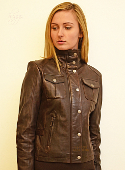 Higgs Leathers SOLD!  Jean (ladies Brown Leather Biker jacket)