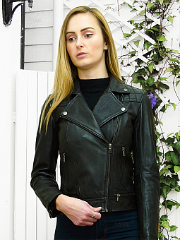 Higgs Leathers NEW!  Jodie (ladies Black Leather Biker jacket)