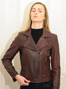 Higgs Leathers NEW!  Jodie (ladies Burgundy Leather Biker jacket)